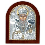 Икона Николай Чудотворец. Шелкография, оклад в серебре. Основание из дерева.