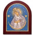 Икона Божьей Матери Остробрамская (цветной лак). Шелкография, оклад в серебре. Основание из дерева.