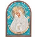 Икона Божьей Матери Остробрамская (цветной лак). Шелкография, оклад в серебре. Основание из пластика.
