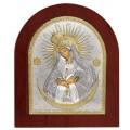 Икона Божьей Матери Остробрамская. Шелкография, оклад в серебре. Основание из дерева.