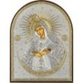 Икона Божьей Матери Остробрамская. Шелкография, оклад в серебре. Основание из пластика.
