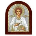Икона Пантелеймона. Шелкография, оклад в серебре,золотой декор. Основание из дерева.