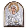 Икона Параскева. Шелкография, оклад в серебре. Основание из пластика.