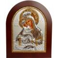 Икона Божьей Матери Почаевская. Шелкография, оклад в серебре. Основание из дерева.