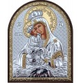 Икона Божьей Матери Почаевская. Шелкография, оклад в серебре. Основание из пластика.