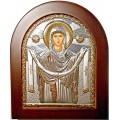 Икона Божьей Матери Покрова. Шелкография, оклад в серебре. Основание из дерева.
