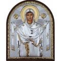 Икона Божьей Матери Покрова. Шелкография, оклад в серебре. Основание из пластика.