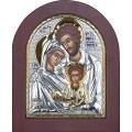 Икона Святое Семейство. Шелкография, оклад в серебре. Основание из дерева.