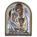 Икона Святое Семейство. Шелкография, оклад в серебре. Основание из пластика.