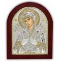 Икона Божьей Матери Семистрельная (Умягчение злых сердец). Шелкография, оклад в серебре. Основание из дерева.