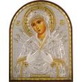 Икона Божьей Матери Семистрельная (Умягчение злых сердец). Шелкография, оклад в серебре. Основание из пластика.