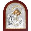 Икона Божьей Матери Сладкое лобзание. Шелкография, оклад в серебре. Основание из дерева.