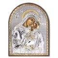 Икона Божьей Матери Сладкое лобзание. Шелкография, оклад в серебре. Основание из пластика.