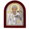 Икона Святого Спиридона. Шелкография, оклад в серебре. Основание из дерева.