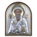 Икона Святого Спиридона. Шелкография, оклад в серебре. Основание из пластика.
