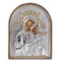 Икона Божьей Матери Страстная. Шелкография, оклад в серебре. Основание из пластика.
