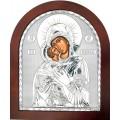 Икона Божьей Матери Владимирская. Шелкография, оклад в серебре. Основание из дерева.