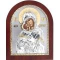 Икона Божьей Матери Владимирская. Шелкография, оклад в серебре,золотой декор. Основание из дерева.