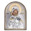 Икона Божьей Матери Владимирская. Шелкография, оклад в серебре. Основание из пластика.