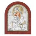 Икона Божьей Матери Почаевская.Шелкография,оклад из алюминия.Класическая серия-овальная основа дерево с ножкой.