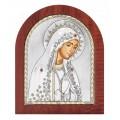 Икона Божьей Матери Мария.Шелкография,оклад из алюминия.Класическая серия-овальная основа дерево с ножкой.