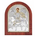 Икона Дмитрия Солунского.Шелкография,оклад из алюминия.Класическая серия-овальная основа дерево с ножкой.