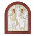 Икона Архангелы Михаил и Гавриил.Шелкография,оклад из алюминия.Класическая серия-овальная основа дерево с ножкой.