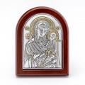 Икона Божьей Матери Иверская.Шелкография,оклад из алюминия.Класическая серия-овальная основа дерево с ножкой.