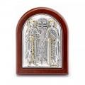 Икона Елена и Константин.Шелкография,оклад из алюминия.Класическая серия-овальная основа дерево с ножкой.