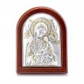 Икона Божьей Матери Страстная.Шелкография,оклад из алюминия.Класическая серия-овальная основа дерево с ножкой.