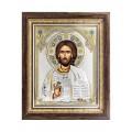 Икона Христос Спаситель.Шелкография,оклад из серебра.Специальная серия.