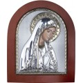 Икона Божьей Матери Мария. Шелкография, оклад в серебре. Основание из дерева.